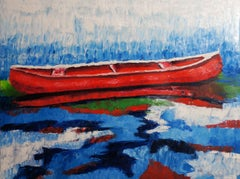 THE RED BOAT, Painting, Oil on Canvas