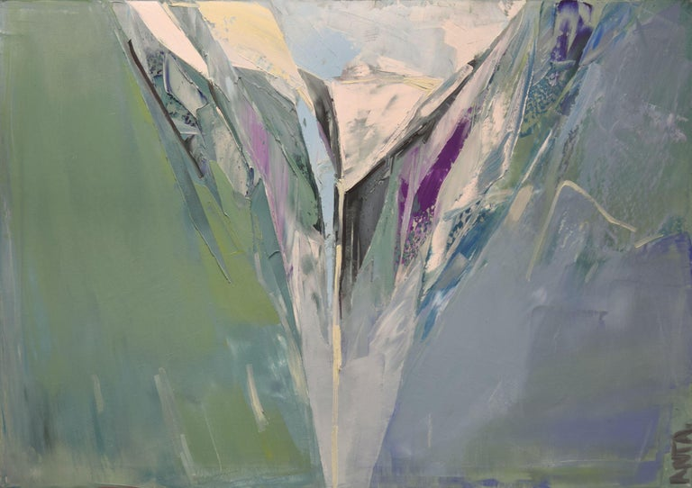 """Karina Antonczak Abstract Painting - """"Mountains 13"""". Size 39,4/ 27,6 inches, Painting, Oil on Canvas"""