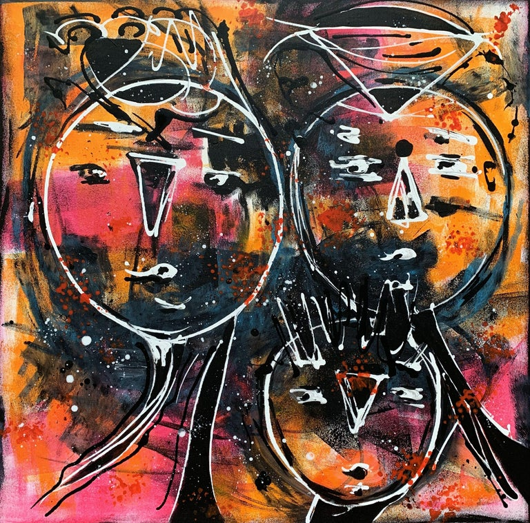 Artist's description:  Hand-painted. Not a print. Painting is signed at the back. Dated.   Contemporary FINE ART Original PAINTING, acrylics and texture on 100% cotton stretched wrapped canvas.    Title: Friends 9, 2019, ready to hang  Size: