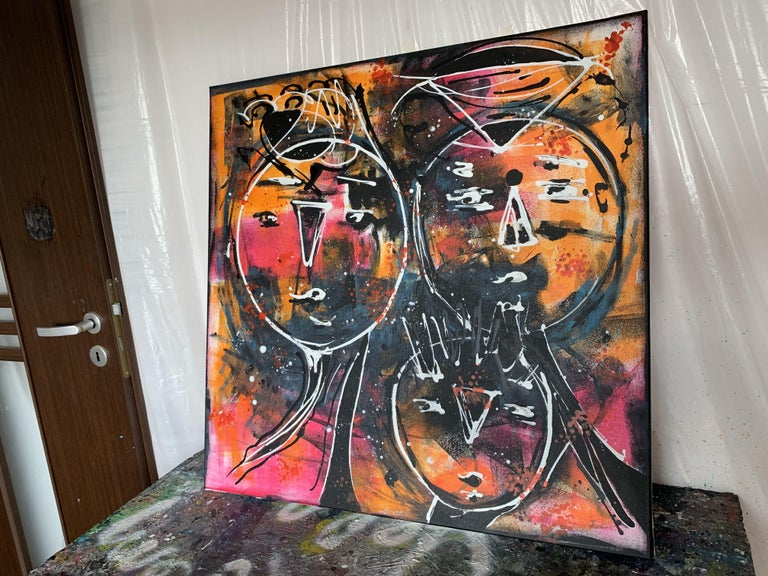 31.5''x31.5''( 80x80cm), Friends 9, Painting, Acrylic on Canvas For Sale 1