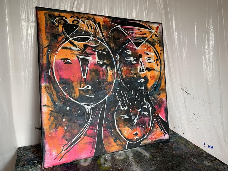 31.5''x31.5''( 80x80cm), Friends 9, Painting, Acrylic on Canvas For Sale 2