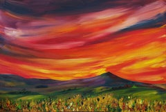 The Red Red skies of Sunset, Painting, Oil on Canvas