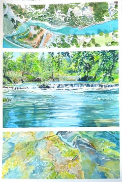 Guadalupe River Tryptich, Painting, Watercolor on Watercolor Paper