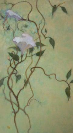 White Flower Vine, Painting, Oil on Canvas
