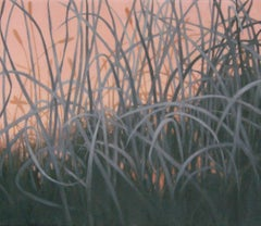 Grasslands- Grey and Pink, Painting, Oil on Canvas