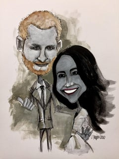 Harry and Meghan, Drawing, Pen & Ink on Paper
