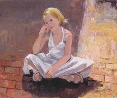 Sidewalk Sitting, Painting, Oil on Canvas