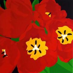 Cardinal Tulips, Mixed Media on Canvas