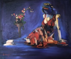 Lady in Blue and Red, Painting, Oil on Canvas