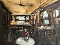 Girl in Cafe, Painting, Oil on Canvas