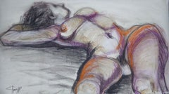 Erotic - Female Nude, Drawing, Charcoal on Paper