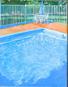 Pool Umbrella, Painting, Watercolor on Paper