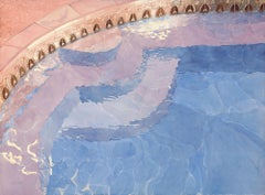 Sunset Pool, Painting, Watercolor on Watercolor Paper