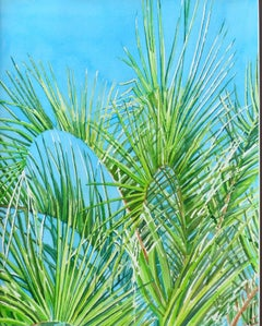 Palms and Blue Sky, Painting, Watercolor on Watercolor Paper