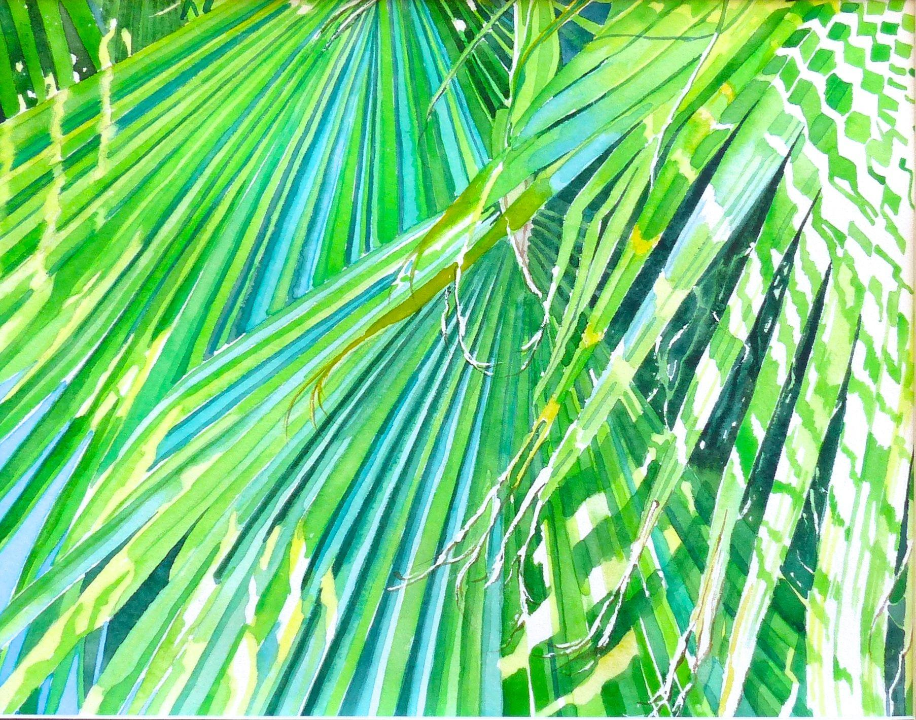Palm Shadows, Painting, Watercolor on Watercolor Paper