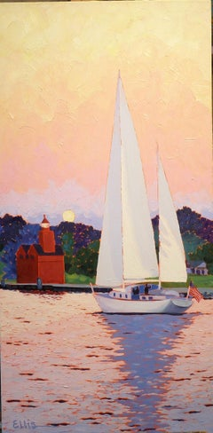 Sailing Big Red, Painting, Oil on Canvas