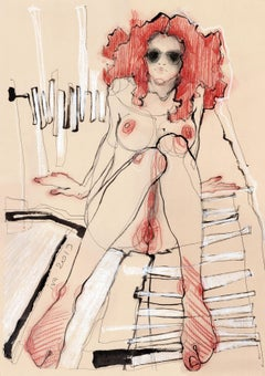 Red-haired Nude, Drawing, Pen & Ink on Paper
