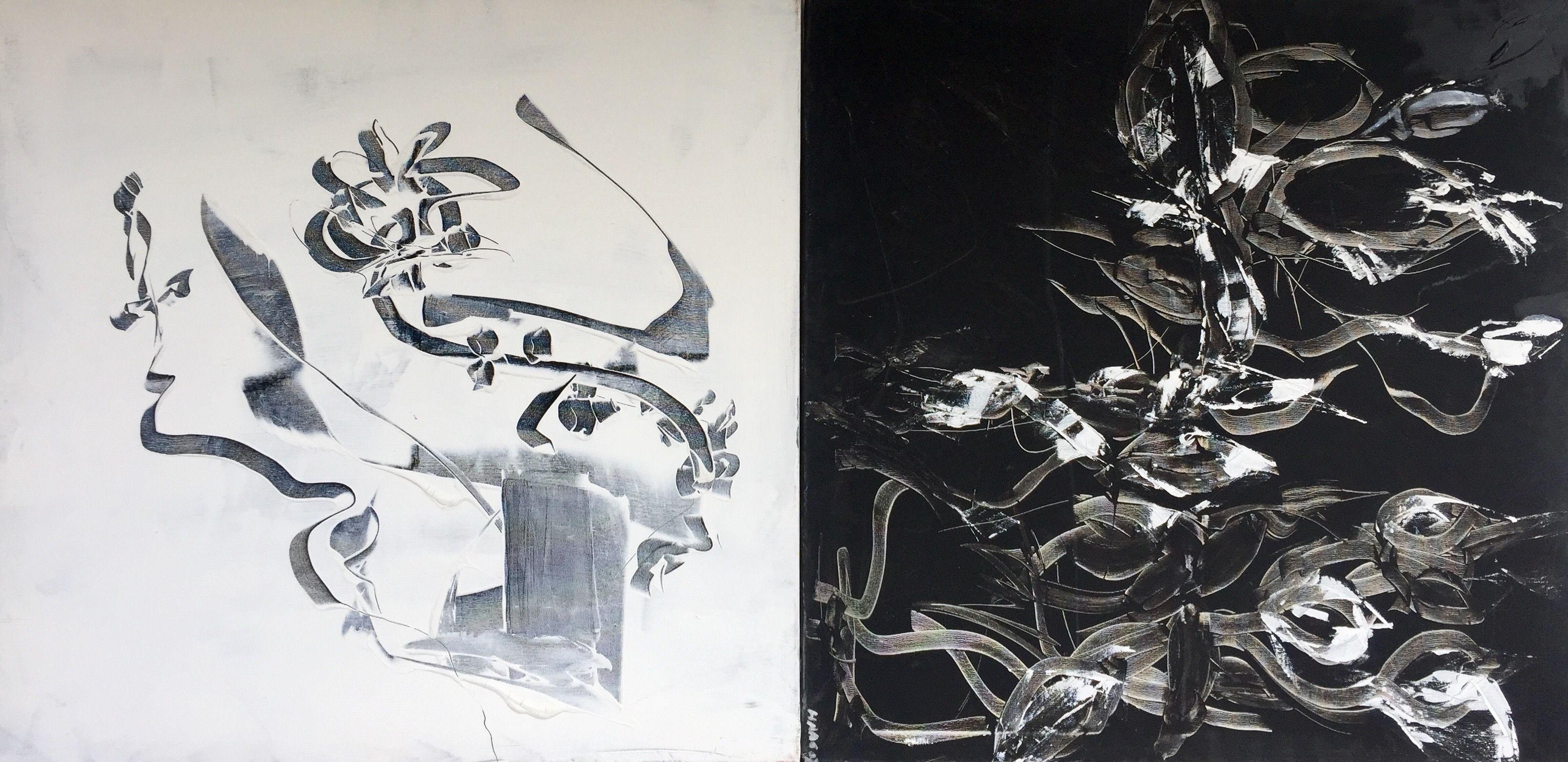 Sing the Black-and-White-Song, Painting, Acrylic on Canvas