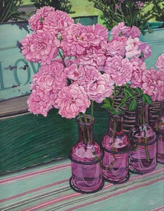 Peonies at the Farmers Market, Painting, Acrylic on Canvas