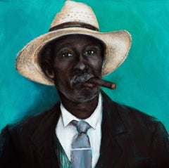 Man with Cigar, Painting, Acrylic on Canvas