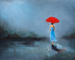 Lady with Umbrella, Painting, Oil on Canvas