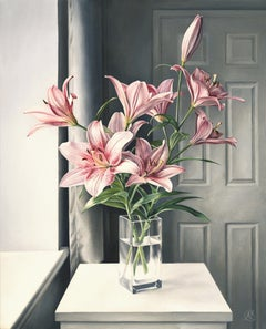 Pink Lilies, Painting, Oil on Canvas