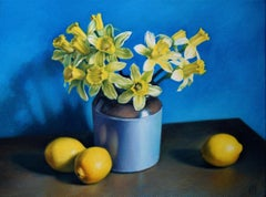 Daffodils and Lemons, Painting, Oil on Canvas