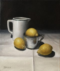 Lemons with White Jug, Painting, Oil on Canvas