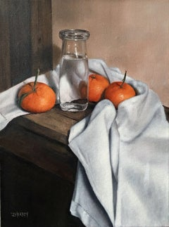Oranges with Bottle, Painting, Oil on Canvas