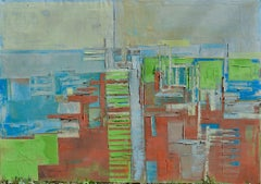 """Oil painting, stretched, """"Layer city II"""", Painting, Oil on Canvas"""