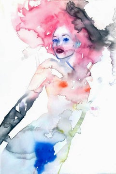 LIQUID DELUSIONS, Watercolor, Painting, Figurative Art, Nude, Signed, Framed