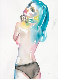 Slow Blues Uprising, Watercolor Painting, Figurative Art, Signed