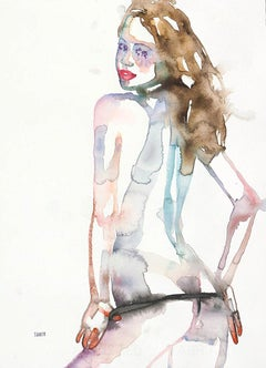 Standing In The Doorway To Your Memory, Watercolor, Figurative, Nude, Signed