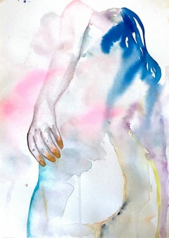 Stay Gold, Watercolor on Paper, Painting, Figurative Art, Nude, Signed