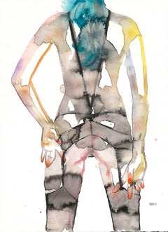 RESIST MUCH OBEY LITTLE, Watercolor, Figurative Art, Nude, Signed, Framed