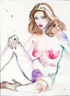 Superior Emotions, Watercolor Painting, Figurative Art, Nude, Signed