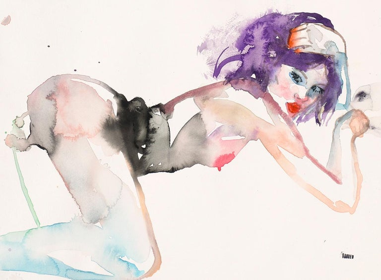 SECRET LIFE OF BIRDS, Watercolor, Painting, Figurative Art, Nude, Signed, Framed For Sale 1