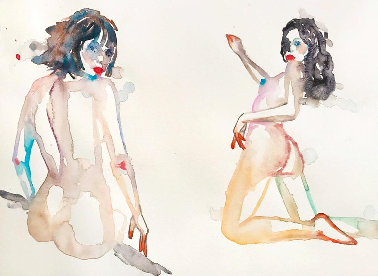 YOU OR SOMEONE LIKE YOU, Watercolor, Painting, Figurative, Nude, Signed, Framed - Contemporary Art by FAHREN FEINGOLD