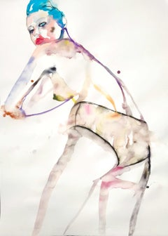 Angel Of Nihilism, Watercolor, Painting, Figurative Art, Nude, Signed, Framed
