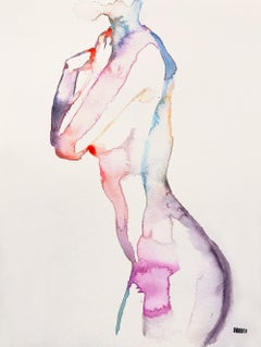 Wasted Moments, Watercolor, Painting, Nude, Signed