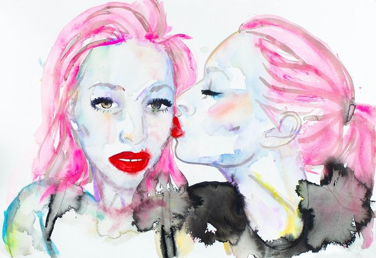 My Life is Not an Audition,Watercolor, Paper, Figurative, Signed,Kissing, Framed - Art by FAHREN FEINGOLD