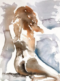 Anna No 3, Painting, Watercolor on Paper, Nude, Figurative, Signed