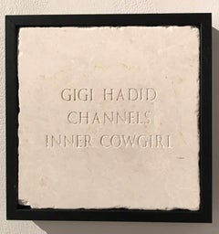 Gigi Hadid Channels Inner Cowgirl, Sculpture, Marble, Engraved, Signed, Framed