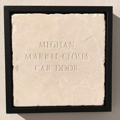 Meghan Markle Closes Car Door, Sculpture, Marble, Engraved, Signed, Framed