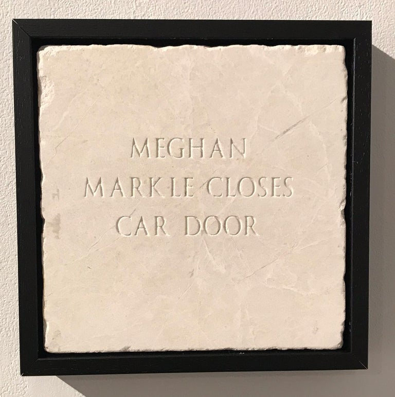 Meghan Markle Closes Car Door, Sculpture, Marble, Engraved, Signed, Framed - Mixed Media Art by Sarah Maple