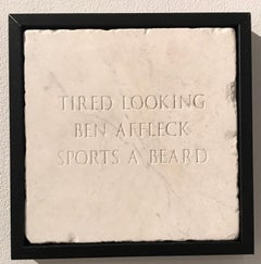 Tired Looking Ben Affleck Sports A Beard, Sculpture, Marble, Engraved, Signed