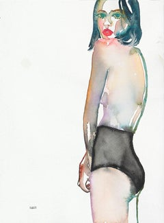 Eyes Too Big For Tomorrow, Watercolor, Figurative, Nude, Signed
