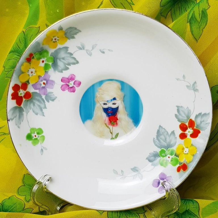 Mae West, Ceramic Plate, Vintage China, Photo Transfer, Signed - Mixed Media Art by Miss Meatface