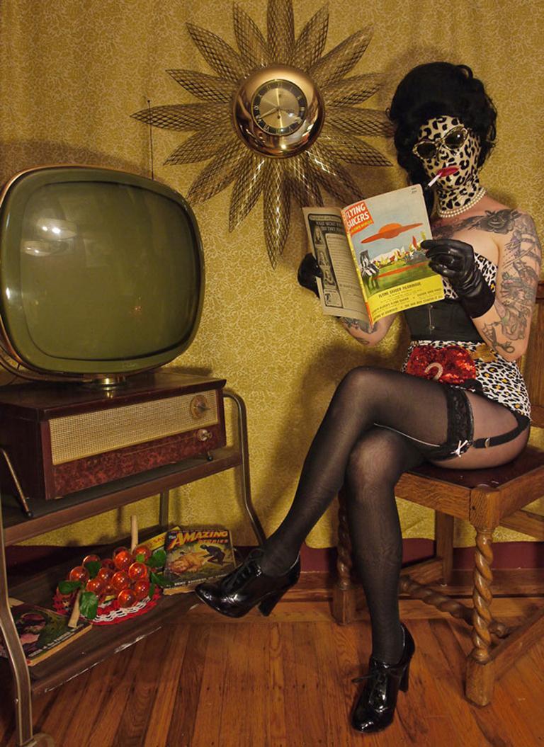 Miss Meatface Portrait Photograph - Flying Saucers, Photography, Aluminum Print, Figurative Art, Signed