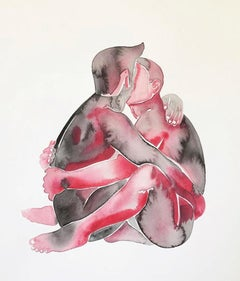 Make Love No 184, Watercolor, Painting, Figurative Art, Nude, Signed, Framed